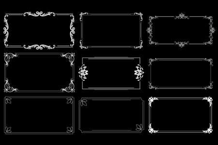 Decorative frames and scroll elements on black background. Vector illustration