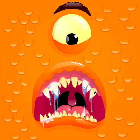 Vector orange monster avatar with surprise face. Cartoon face of a monster. Vector illustration