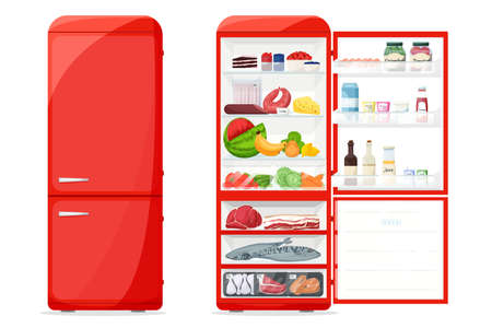Closed and opened fridge with healthy and fresh food, drinks, meet, vegetables. Cartoon style. Vector Illustration