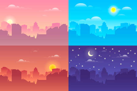 Architectural silhouette vector background collage set. In the morning, day, night the cityscape, city buildings at different times. Vector illustration Ilustracja