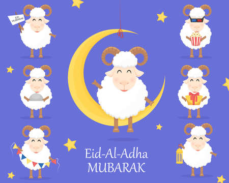 Eid Al Adha Mubarak celebration with sheep on blue background. Use for banner, poster, flyer, brochure sale template. Vector illustration