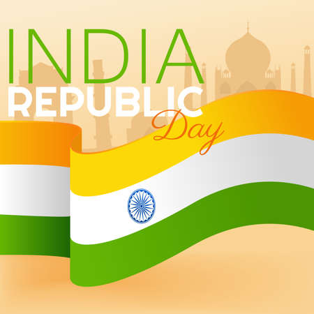Indian republic day. Flag for independence day. Background for 26 January, Vector Illustration