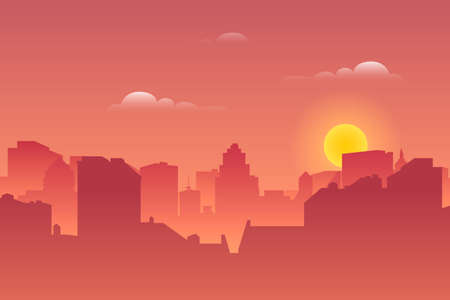 In the night the cityscape. Architectural silhouette vector background. Vector background
