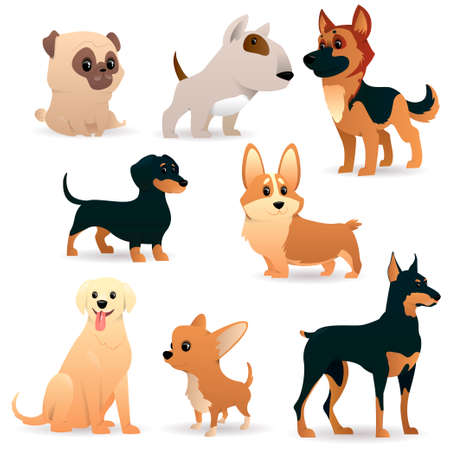 Cartoon dogs of different breeds and sizes. Funny beasts on a white background. Vector illustration Ilustração