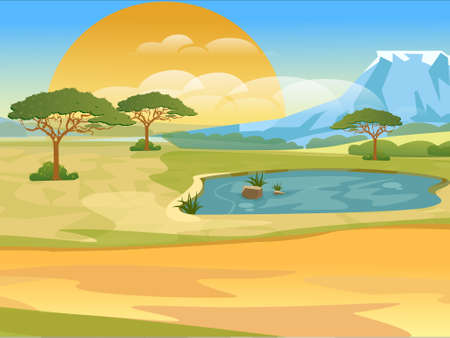 Cartoon african savannah. Realistic vector landscape. Nature of africa, safari, noon in Savannah. Vector illustration