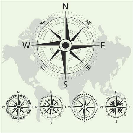 Retro nautical compass. Retro design vector collection. Sea navigation compass for sea ship. Vector illustration