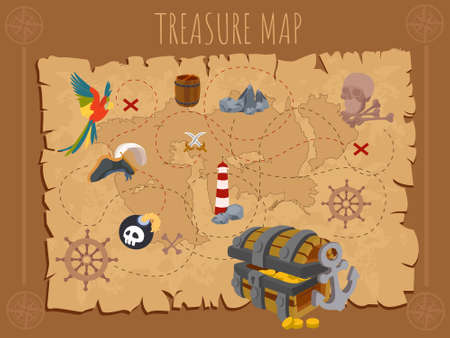 Old pirate map on ancient paper. Map on parchment. Pirate adventures with treasure island. Vector illustration Vectores