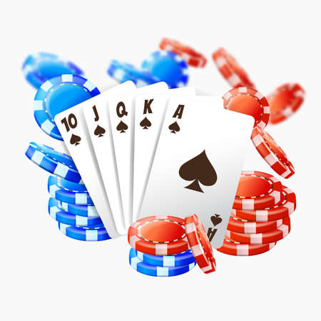 Realistic poker cards and pile, for play in casino. Gambling realistic 3D  card and plastic red and blue chip. Vector illustration