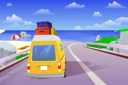 Car summer trip to the sea on weekend holiday. Vacation travelling concept. Ocean background on road, tourism concept, cartoon style. Vector illustration 벡터 (일러스트)