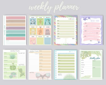 Set of weekly and daily planner. Cute weekly background for daily plans, notes. Organizer and schedule with notes. Vector illustraton