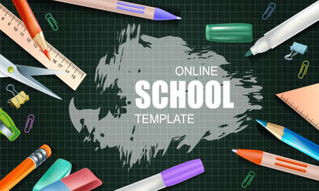 Online school template. Internet school and digital online lessons and courses, online learning. Social distance concept. Vector illustration