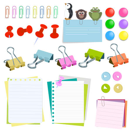 Note paper with pins and clips different color. Paper clip pin set. Elements for attaching paper. Vector illustration Ilustração