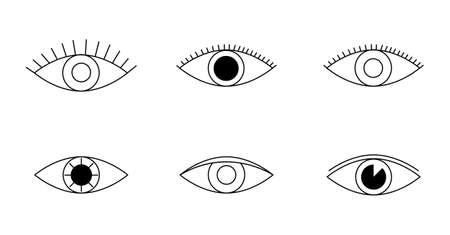 Eye icons. Human eyes, vision and view signs. Visible, sleep and medicine supervision observe, lens or cry, eyesight health outline silhouette vector isolated symbols set Vectores