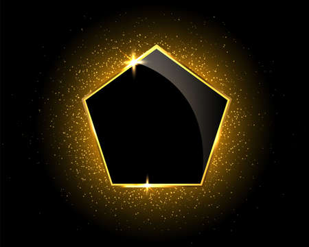 Gold sparkling glitter pentagon on black background with light effects and geometric figures. Vector illustration