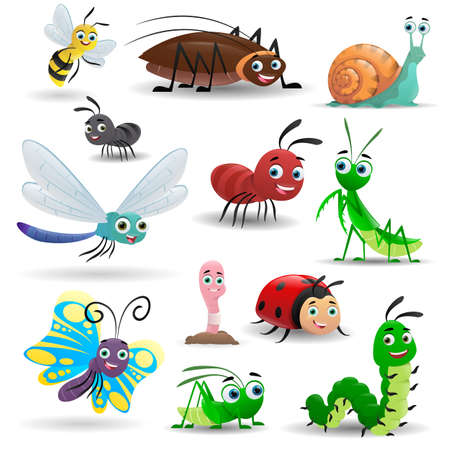 Big set cartoon cute insects. Bee, worm, snail, butterfly, caterpillar, ladybug, praying mantis, dragonfly, cockroach, ant, grasshopper. Vector illustrations Ilustracja