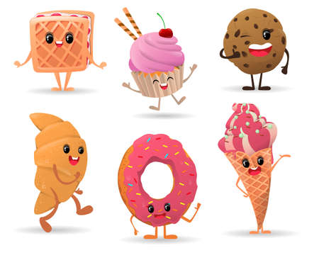 Set of cute various dessert characters with smiling face on white background. Ice cream, donut, cupcake, waffle, croissant, cookies. Vector illustration