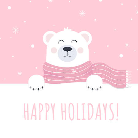 Happy holiday with polar bear vector print for postcard. Illustration card template for winter or christmas. Vector illustration