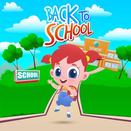 Cartoon little girl go to school. Welcome back to school. Vector illustration
