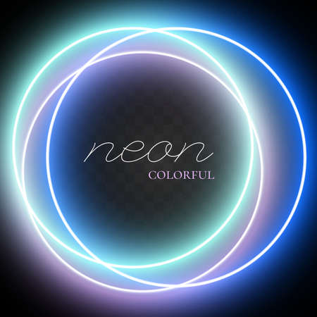 Shiny neon ring in blue shades. Abstract shiny light circles. Colorful neon circle glowing frames. Vector illustration