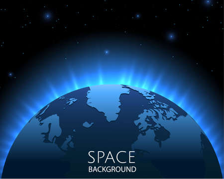 Space background with blue light from behind of the planet. Rays of energy. World map. Blue background with planet Earth. Vector illustration Illusztráció