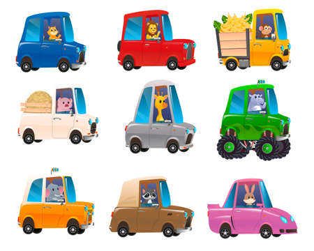 Cute animals in funny cars. Transportation animals character travel. Kids transport collection with cute animals. Vector illustration