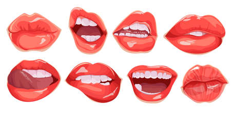 Set of realistic female lips. Mouth set. Realistic glamorous red lips of girl, smile, tongue. Vector illustration
