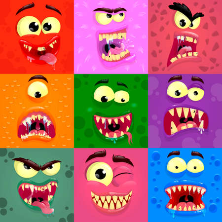 Cartoon monster faces set. Colorful square funny monsters face with different emotions. Vector illustration