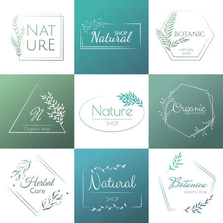 Set of elegant and luxury organic template. Natural template for design and natural cosmetics and organic products. Eco natural design template. Vector illustration Vetores