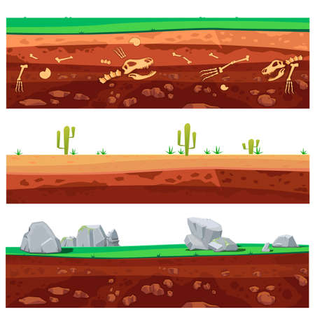 Cartoon rounds layers texture. Illustration of a set of seamless grounds, soils and land foreground area with grass, snow, rock, desert and sand. Vector illustration