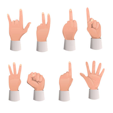 Various gestures human arm: pointing, attention, fist, thumb up, etc...Hand gestures flat icons set. Set of hand gesture cartoon. Vector illustration