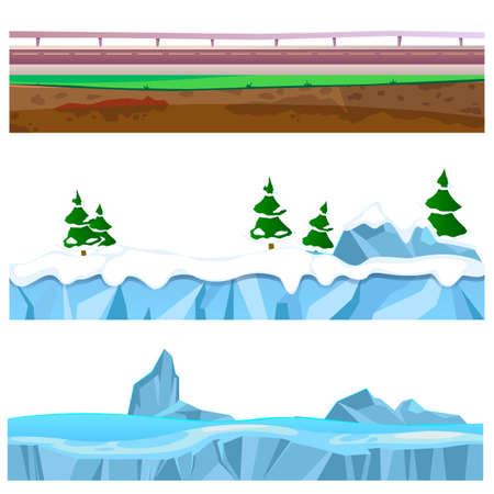 Cartoon rounds layers land with road and snow. Illustration of a set of seamless grounds, soils and land foreground area with grass, snow, rock, desert and sand. Vector illustration