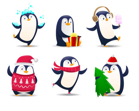 Collection of cartoon penguin. Christmas Penguins on white backdround. Illustration for greeting card template. Cute cartoon Christmas penguins in different emotions. Vector illustration