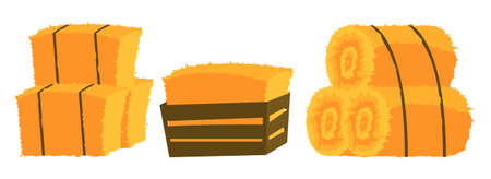 Bales of hay of icons on white background. Farming agricultural set with dry hay bale straw. Set of bales yellow agricultural stacks from hay. Vector illustration