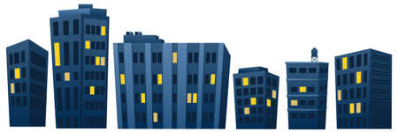 Houses and apartments at night. Modern skyscrapers with lighting in apartments. Night city with a full moon over the rooftops of city houses. Vector illustration