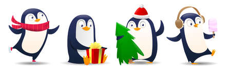 Cartoon Christmas penguin on white background. Illustration for greeting card template. Cute penguins wearing in warm closes and show different emotions. Vector illustration