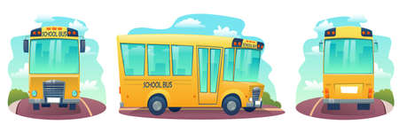 Set of cartoon school bus. Yellow bus for children, education conception. Transportation pupil or student, transport and automobile. Vector illustration