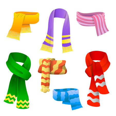 Set of scarves for boys and girls in cold weather. Scarves set icons in cartoon style. Winter warming clothes. Vector illustration