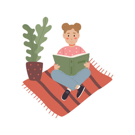 The girl is reading a book on the floor. Reading people on a white background. Read more concept books. People read while lying down. Vector illustration