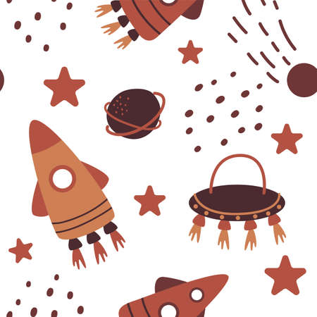 Patterns space background. Hand drawn pattern with planets, rockets, stars, sun. Flat style space childrens background. Vector illustration