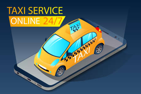 Isometric taxi app for ordering cars yellow. City taxi device app. 24/7 online service concept. Using taxi call mobile app with map. Vector illustration