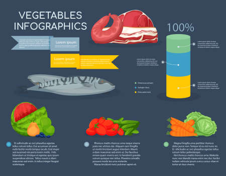 Infographics different products and grafic on dark background. Dairy products, vegetables, fruits. Fruits and food component: dietary fiber, proteins, fats and carbohydrates. Vector illustration