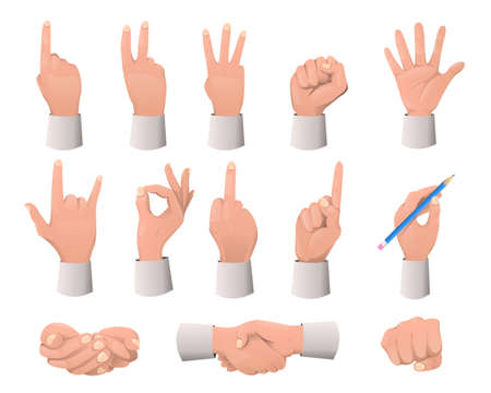 Hand gesture collection. Various gestures: pointing, attention, fist, thumb up, etc...Hand gestures flat icons set. Vector illustration