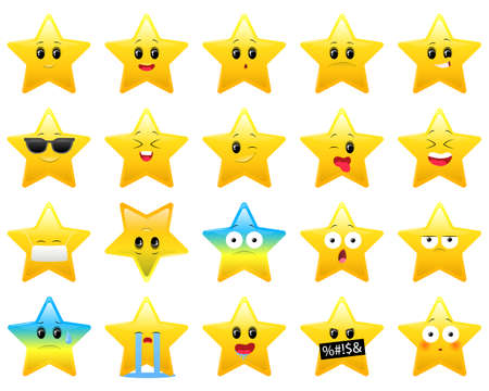 Collection of stars character with different emotionson white background. Isolated design for children, icon. Yellow star icons. Vector illustration
