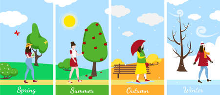 Four seasons banners setwith girl. Winter, spring, summer, autumn. Landscape of the four seasons background. Vector illustration