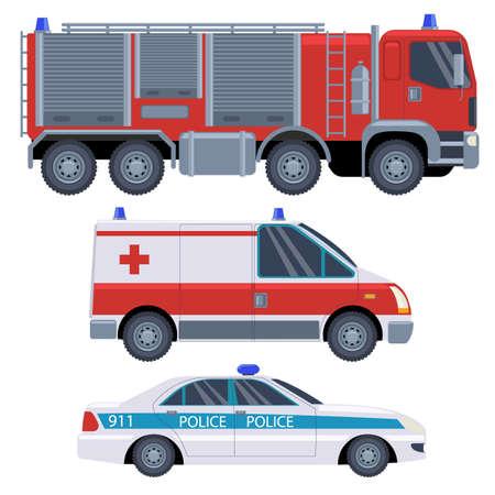 Cartoon rescue vehicles fire truck, ambulance and police car. Car icons ambulance, police car. Emergency concept. Set of cartoon rescue car. Vector illustration Ilustración de vector