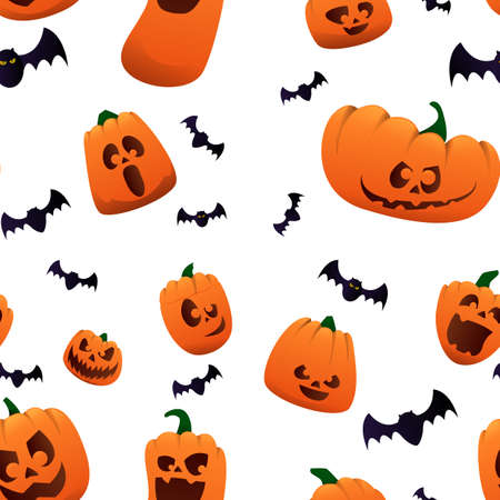Hallowwen backgraund with pumpkin and bats. The main symbol of the holiday is Halloween. Halloween pumpkins. Orange pumpkin with a smile for your pattern. Vector illustration Stock fotó - 155374611
