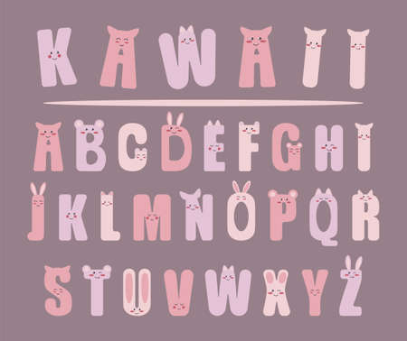 Different cute kawaii alphabet in pastel colors. Cute and kawaii isometric alphabet,  stickers emoticons isolated, kids design. Kawaii font with funny smiling faces. Vector illustration Illusztráció