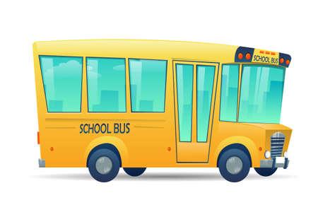 School bus on white background. Bus for children, education conception. Transportation pupil or student, transport and automobile. Vector illustration Vecteurs