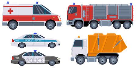 A set of rescue vehicles. Car icons Fire truck, ambulance, police car garbage truck. Emergency concept. Set of cartoon rescue car. Vector illustration Stock fotó - 155735263