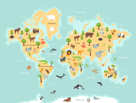 World map with wild animals and plants. Wildlife map with animals and plants from different continents. Abstract sign and icon kawaii style. Vector illustration